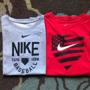 Bundle of 2 BOYS NIKE Baseball T shirts XL